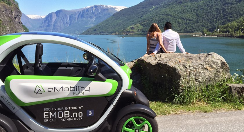 Explore Flåm from a fun electric car